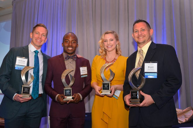 The 4 under 40 winners Andrew Pickett,  Kenny Johnson, Kelly Billon and Bryan Bobbitt. LEAD Brevard 2020 Leadership Awards were presented at the Space Coast Convention Center Friday evening featuring the 16th annual 4 Under 40 recognition and the Rodney Ketcham leadership award.