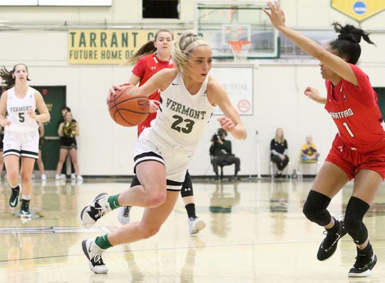 UVM's Emma Utterback drives to the hoop for 2 of her 10 points during the Catamounts 62-51 win over Hartford on Saturday at Patrick Gym. Utterback added 6 rebounds, 4 assists and a steal as Vermont improved to 5-6 in America East play.