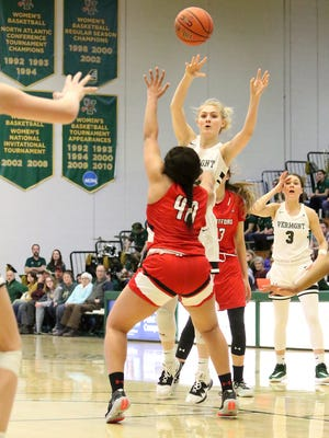 Vermont's Hanna Crymble gets the ball to an open teammate during the Catamounts' 62-51 win over Hartford Saturday at Patrick Gym. The win improved the Catamount women to 11-13 on the season.