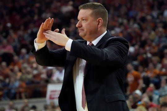 Feb 8, 2020; Austin, Texas, USA; Texas Tech Red Raiders head coach Chris Beard calls a timeout in the first half of the game against the Texas Longhorns at Frank C. Erwin Jr. Center. Mandatory Credit: Scott Wachter-USA TODAY Sports