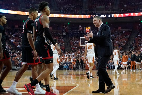 Feb 8, 2020; Austin, Texas, USA; Texas Tech Red Raiders head coach Chris Beard talks to players during a timeout in the first half of the game against the Texas Longhorns at Frank C. Erwin Jr. Center. Mandatory Credit: Scott Wachter-USA TODAY Sports