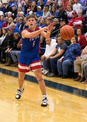 Zane Trace's Colby Swain passes the ball during a 54-41 win over Adena on Friday, Feb. 07, 2020, in Frankfort, Ohio.