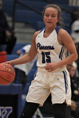 Simon Kenton senior Maggie Jones as Simon Kenton defeated Cooper 70-34 in girls basketball Feb. 7, 2020 at Simon Kenton High School, Independence, Ky. The Pioneers improved to 24-3 on the season.