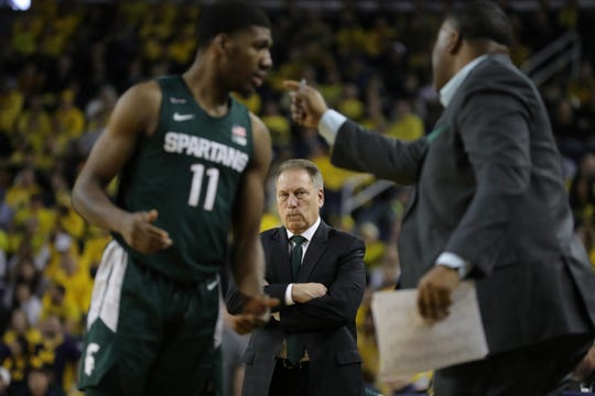 Michigan State coach Tom Izzo looks on during action against Michigan, Saturday, Feb. 8, 2020 at the Crisler Center in Ann Arbor.