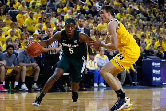 Michigan State's Cassius Winston drives on Michigan's Franz Wagner in the first half in Ann Arbor, Saturday, Feb. 8, 2020.