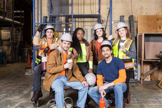 """Ron Williams, left, Cory Cunningham, Yemie Sonuga, Emily Hadick, Gregory Rodriguez, and Kim Rachelle Harris in """"Working"""" at Meadow Brook Theatre."""
