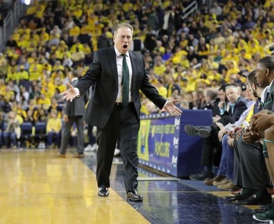 Michigan State coach Tom Izzo during action against Michigan, Saturday, Feb. 8, 2020 at the Crisler Center in Ann Arbor.