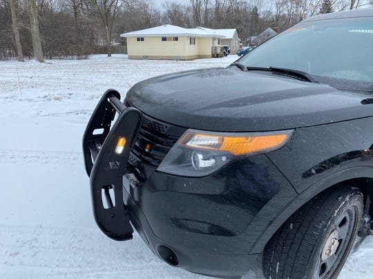 This vehicle stopped Thursday by Oakland County Sheriff Michael Bouchard has a push bumper like those used on police cruisers.