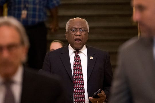 Rep. Jim Clyburn, D-S.C. arrives for a House Democratic caucus meeting on Capitol Hill in Washington, Wednesday, July 10, 2019.