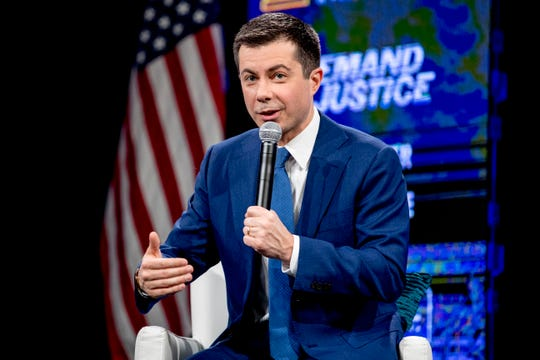 """Democratic presidential candidate former South Bend, Ind., Mayor Pete Buttigieg speaks at """"Our Rights, Our Courts"""" forum at New Hampshire Technical Institute's Concord Community College, Saturday, Feb. 8, 2020, in Concord, N.H. (AP Photo/Andrew Harnik)"""