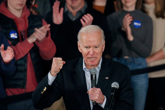 Democratic presidential candidate former Vice President Joe Biden speaks at a campaign event, Saturday, Feb. 8, 2020, in Manchester, N.H.