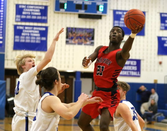 Jarrid Kirkland of Binghamton drives for a layup during a 94-62 win over Horseheads in boys basketball Feb. 8, 2020 at Horseheads Middle School.
