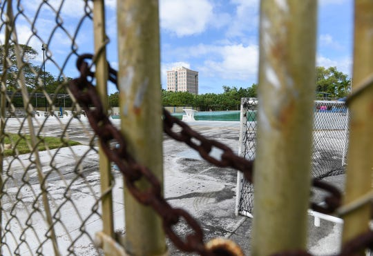 The Agana Pool, closed since Jan. 17 by the Guam Environmental Protection Agency because of test results showing unacceptable levels of chlorine and the presence of coliform bacteria, is pictured on Feb. 8, 2020.