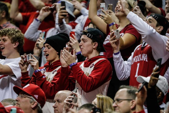 Students applaud as former Indiana University Hoosier Head Coach Bobby Knight makes his first public appearance at IU Simon Skjodt Assembly Hall in years, during a game between the IU Hoosiers and the Purdue Boilermakers, at IU, Saturday, Feb. 8, 2020.