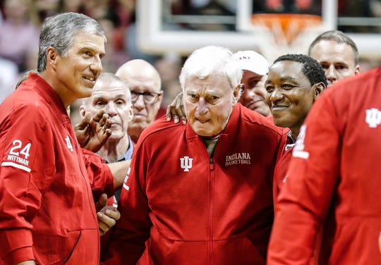 Bob Knight makes his first public appearance at IU Simon Skjodt Assembly Hall in 20 years, Saturday, Feb. 8, 2020.