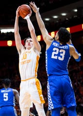 Tennessee forward John Fulkerson (10) attempts a shot during a basketball game between the Tennessee Volunteers and the Kentucky Wildcats at Thompson-Boling Arena in Knoxville, Tenn., on Saturday, February 8, 2020.