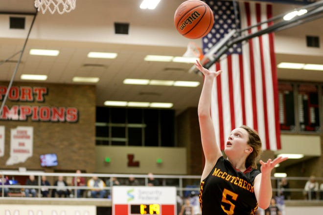 McCutcheon's Teresa Maggio (5) goes up for a layup during the second quarter of an IHSAA girls sectional basketball game, Friday, Feb. 7, 2020 in Logansport.