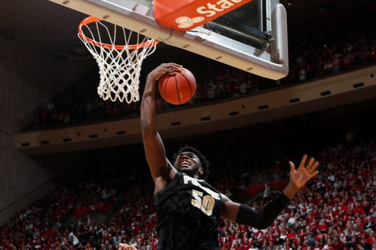Feb 8, 2020; Bloomington, Indiana, USA; Purdue Boilermakers forward Trevion Williams (50) grabs a rebound against the Indiana Hoosiers during the first half at Simon Skjodt Assembly Hall. Mandatory Credit: Brian Spurlock-USA TODAY Sports