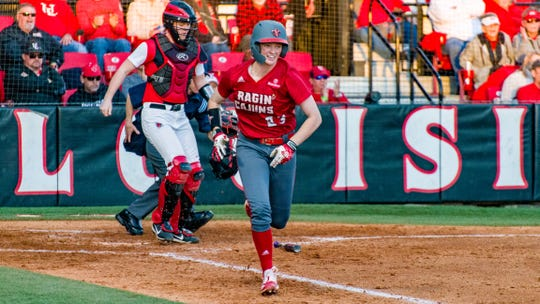 UL catcher Julie Rawls runs to first base against Ball State earlier this season at Lamson Park.