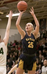 Hartland's Whitney Sollom scored her 1,000th career point in a district basketball victory over Linden.