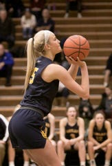 Whitney Sollom of Hartland takes a free-throw in the fourth period of the game at Howell Friday, Feb. 7, 2020.