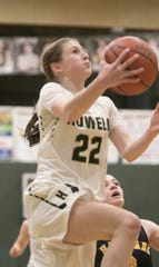 Howell's Maeve St. John drives for two of her game-high 19 points in a 47-45 loss to Hartland on Friday, Feb. 7, 2020.