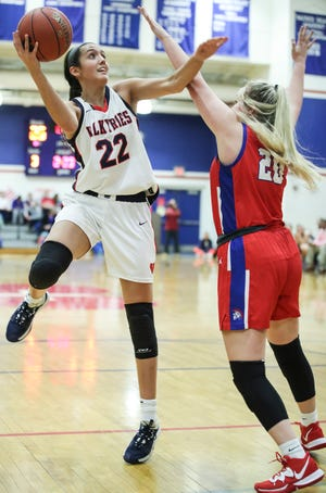 Sacred Heart's Kristen Clemons had 15 points with 15 rebounds against Christian Academy of Louisville in the Valkyries' 62-59 win. Feb. 7, 2020.