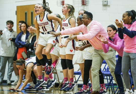 Sacred Heart's bench erupts as the Valkyries edge past Christian Academy Feb. 7, 2020.
