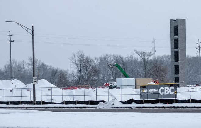Work continues on the Red Cedar development project during the winter months. Saturday, Feb. 8, 2020.