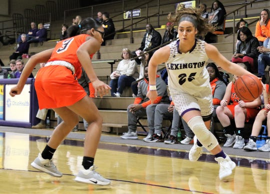 Lexington senior Gabby Stover scored 18 points and grabbed 12 rebounds in Lady Lex's Ohio Cardinal Conference championship clinching win over Mansfield Senior on Saturday afternoon.