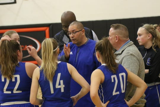 St. Peter's coach Roy Shoulders instructs his team during a timeout during an away game at Lucas last season.