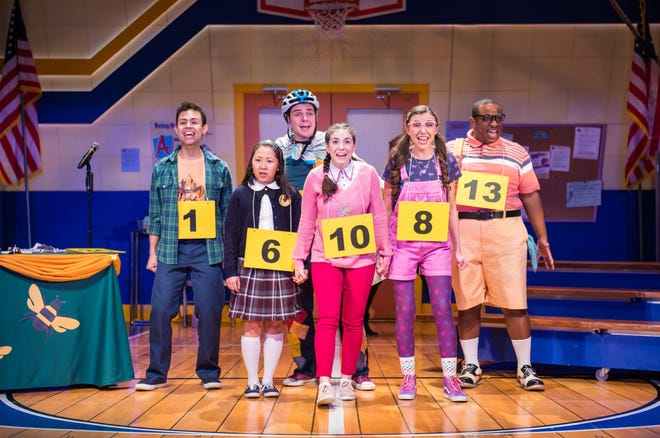 """Cast members sing in Skylight Music Theatre's production of """"The 25th Annual Putnam County Spelling Bee,"""" the last show Skylight produced before the COVID-19 pandemic shut down local theaters."""