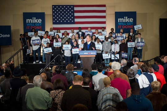 Presidential candidate Mike Bloomberg speaks during a rally at Alabama State University student center in Montgomery, Ala., on Saturday, Feb. 8, 2020.