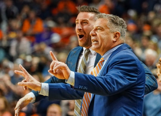 Feb 8, 2020; Auburn, Alabama, USA; Auburn Tigers head coach Bruce Pearl during overtime against LSU Tigers at Auburn Arena. Mandatory Credit: Marvin Gentry-USA TODAY Sports