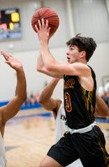 LAMP's Quinn Sloane (3) against Catholic in the Class 4A, Area 4 boys championship game on the Catholic campus in Montgomery, Ala., on Friday February 7, 2020.