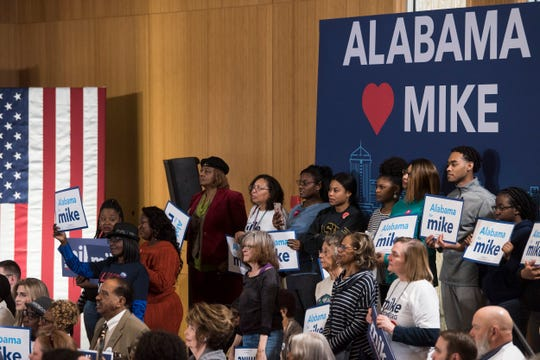 Supporters watch as presidential candidate Mike Bloomberg speaks during a rally at Alabama State University student center in Montgomery, Ala., on Saturday, Feb. 8, 2020.
