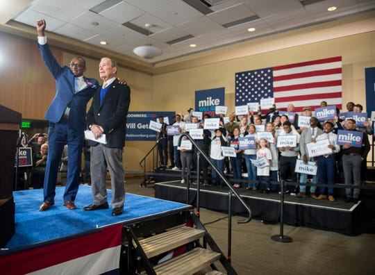 Alabama State Sen. Bobby Singleton introduces presidential candidate Mike Bloomberg during a rally at Alabama State University student center in Montgomery, Ala., on Saturday, Feb. 8, 2020.
