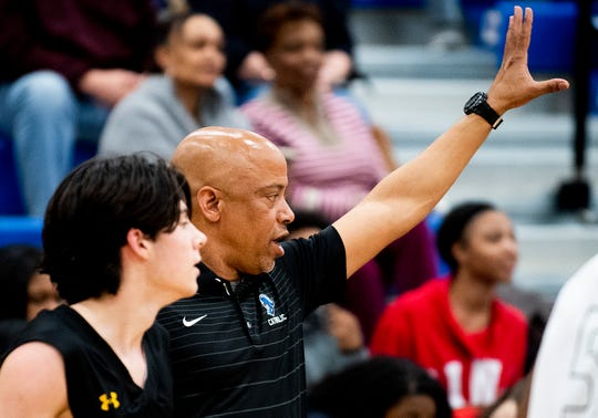 Catholic coach Michael Curry coaches against LAMP in the Class 4A, Area 4 boys championship game on the Catholic campus in Montgomery, Ala., on Friday February 7, 2020.