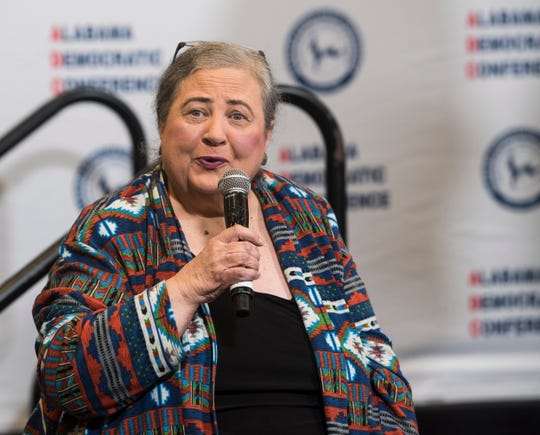Alabama Democratic Party chair Nancy Worley speaks during the Alabama Democratic Conference Luncheon at Embassy Suites in Montgomery, Ala., on Saturday, Feb. 8, 2020.