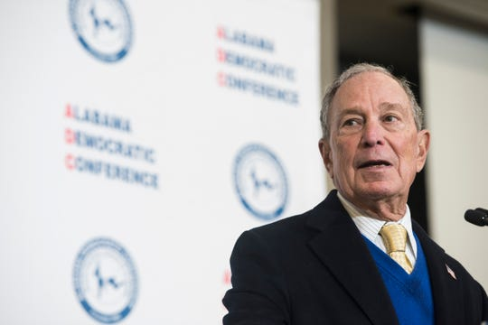Presidential candidate Mike Bloomberg speaks during the Alabama Democratic Conference Luncheon at Embassy Suites in Montgomery, Ala., on Saturday, Feb. 8, 2020.