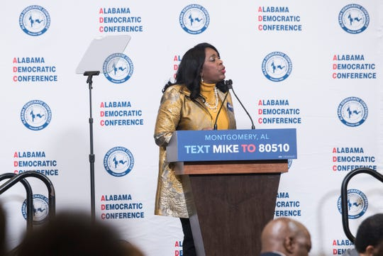 U.S. Rep. Terri Sewell speaks during the Alabama Democratic Conference Luncheon at Embassy Suites in Montgomery, Ala., on Saturday, Feb. 8, 2020.