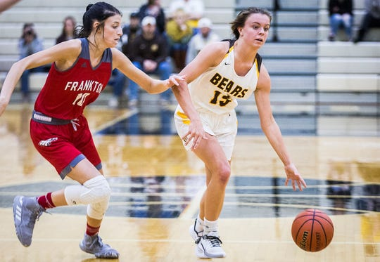 Monroe Central's Hannah Bolton dribbles past a Frankton defender during their sectional semifinal game at Lapel High School Friday, Feb. 7, 2020.