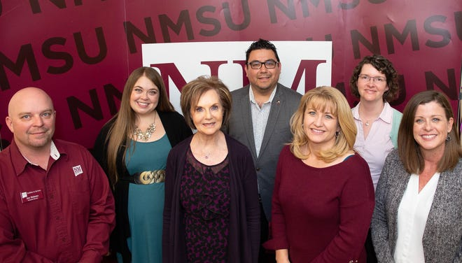 Graduates of the December 2019 Aggie Leadership Training Academy include (from left) Jon Webster, assistant director of project development and engineering in Facilities & Services; Michelle Bernstein, Residential Education, Housing and Residential Life associate director; Jeanne Garland, civil engineering program operations director and New Mexico Alliance for Minority Participation associate director; Adrian Bautista, annual giving development office director; Michelle Lukesh, Dona Ana Community College fiscal specialist; Diana Dugas, Instructional & Research Support Information & Communication Technologies director; and Amanda Vescovo, associate director of DACC Advising Services.
