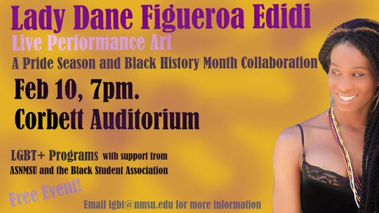 """Lady Dane Figueroa Edidi, a performance artist known as """"The Ancient Jazz Priestess of Mother Africa"""" will be kicking off Pride Season at NMSU with a performance at 7 p.m. in the Corbett Center Auditorium Monday, Feb. 10 along with readings from some of her most recent books."""