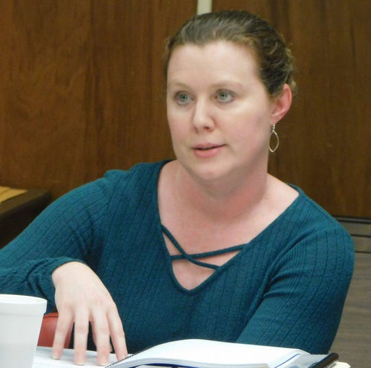 Tressa Miller, finance director for the St. Landry Parish School Board, speaks during a recent board meeting.