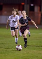 Hailey Bastian (23) controls the ball during the Niceville vs Navarre girls District championship soccer game at Navarre High School on Friday, Feb. 7, 2020.