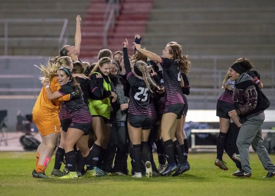 The Raiders celebrate their 3-2 victory during the Niceville vs Navarre girls District championship soccer game at Navarre High School on Friday, Feb. 7, 2020.