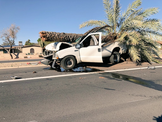 A truck collided with a palm tree which snapped and landed on top of the truck on Feb. 8, 2020, near East Cactus Road and North 29th Street in north Phoenix.