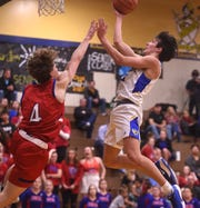 Reed's Trey Stevens shoots while taking on Reno on Feb. 7, 2020.