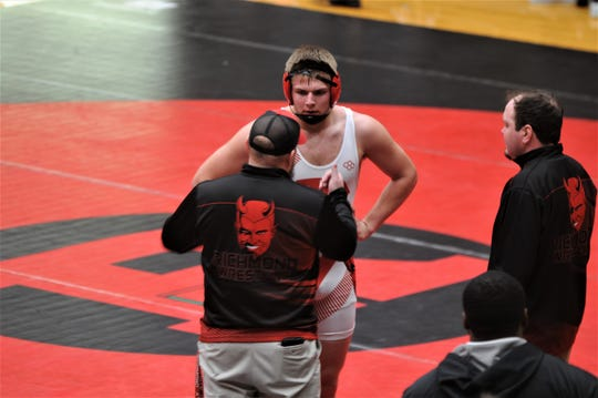 Richmond senior Blaine Pierce concluded his wrestling career at the IHSAA state tournament at Bankers Life Fieldhouse on Friday, Feb. 21, 2020.